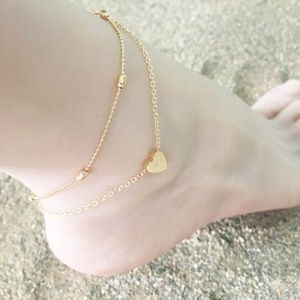 Jewelry - Ball Chain Gold Heart Dainty Layered Anklet